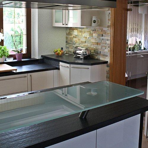 Glasablage Naturstein Küchenarbeitsplatte